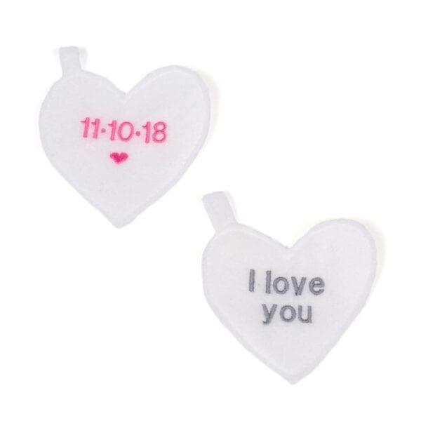 Keepsake Memory Bear - Image of two white felt embroidered hearts.