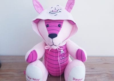 Piglet baby grow made into a keepsake bear