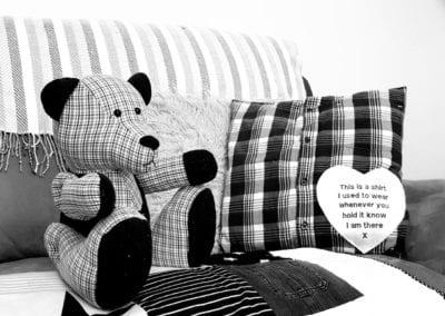 Adult clothing keepsake bear, cushion and blanket