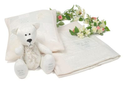 Wedding Dress Cushion, Bear and Blanket Set