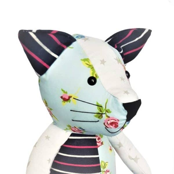 Keepsake cat made from baby clothes