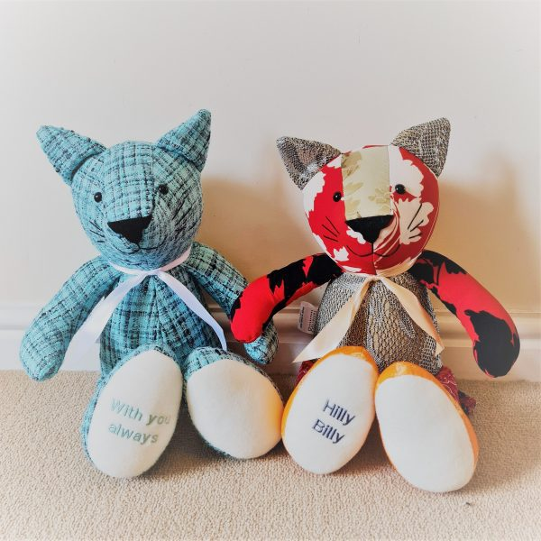 Cat keepsake teddy made from clothes