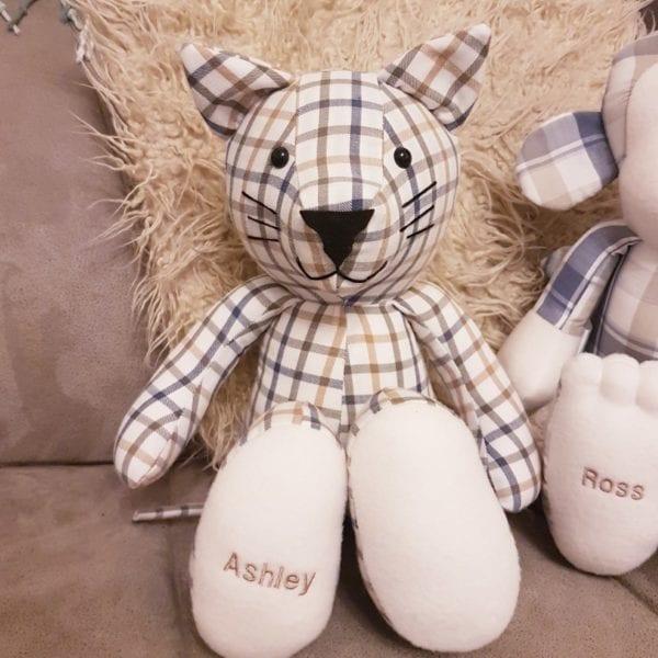 Keepsake cat teddy made from shirts