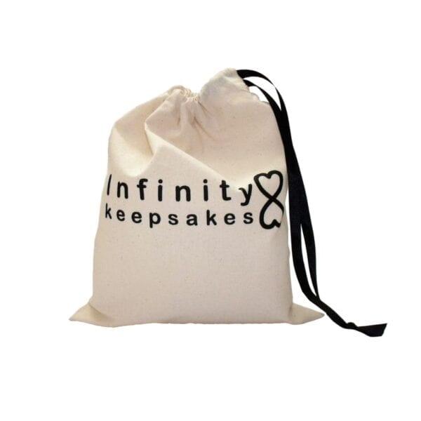 Uniform Memory Bear - Image of the Infinity Keepsakes drawstring product bag.