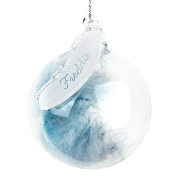 Blue Feather Glass Bauble