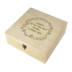 Wooden Memory Box - Flowers