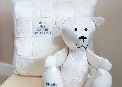 wedding dress bear & cushion