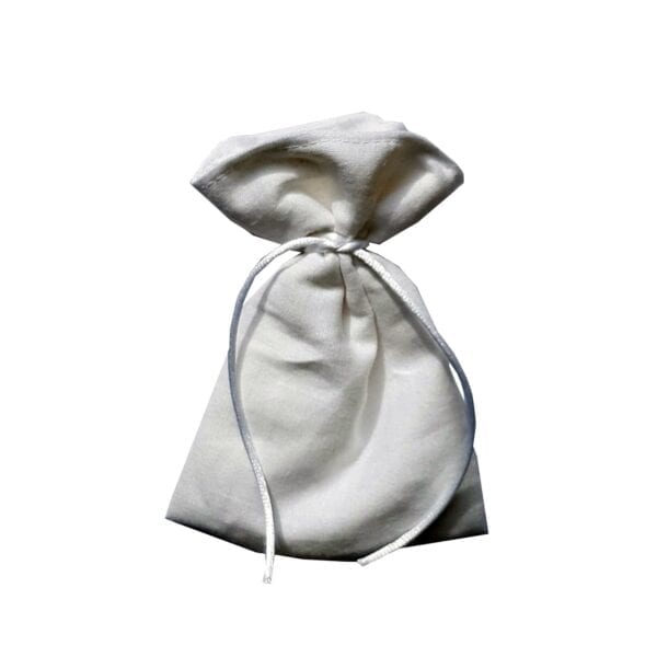 Ashes Memory Bear - Image of a small cream pouch, used to hold a small amount of ashes in the Ashes Memory Bear.