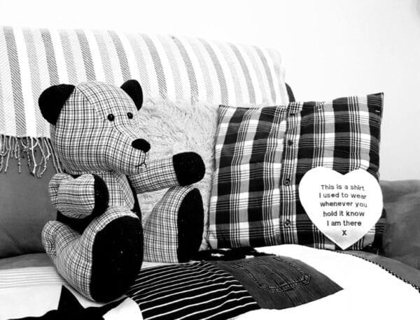 Memorial Memory Bear - Black and white image of a keepsake memory bear, made from a checked fabric and a checked keepsake cushion.