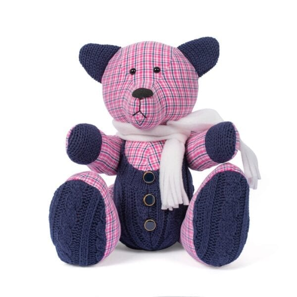 Memorial Memory Bear - Image of a keepsake memory bear, made from red checked fabric, with navy knitted, ears, tummy and paws and a cream scarf at the neck.