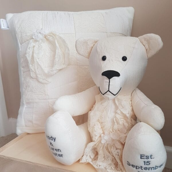 Wedding Dress Made Into A Memory Bear & Cushion