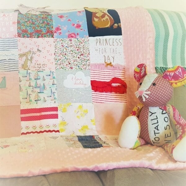 Bobble Memory Blanket: Image of a pink bobble blanket made from baby clothes and a patchwork mouse keepsake animal.