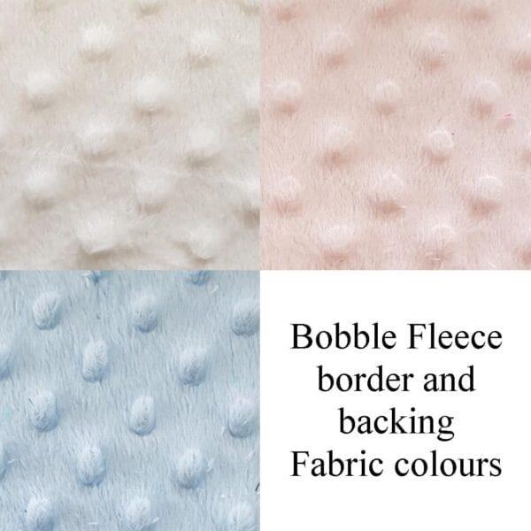 Bobble Memory Blanket: Image of the different colour bobble fleece backing options.