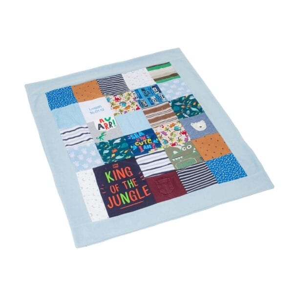 Fleece Memory Blanket: Image of a blue fleece blanket, made from baby clothes laid out flat.