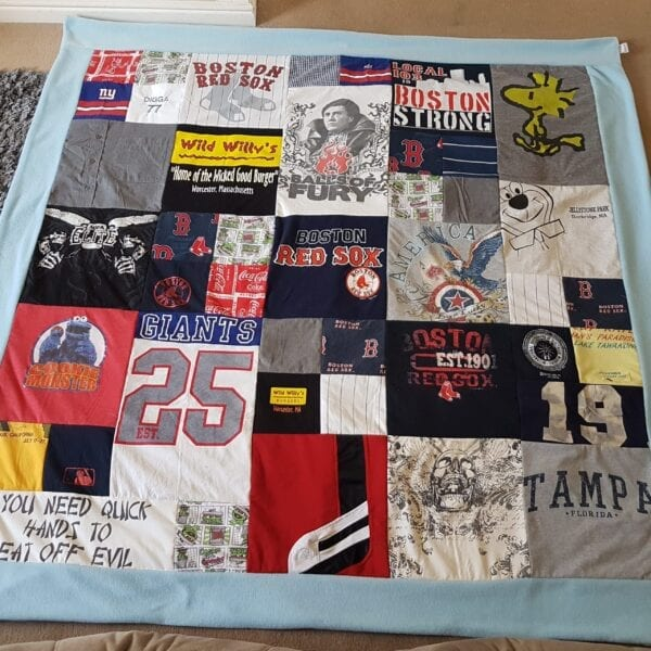 Fleece Memory Blanket: Image of a blue fleece blanket, made from adult clothes laid out flat.