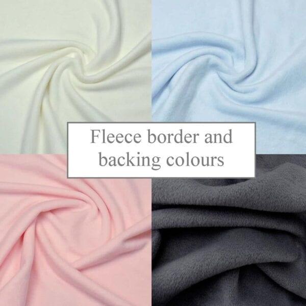 Fleece Memory Blanket: Image of the fleece border and backing colour options.