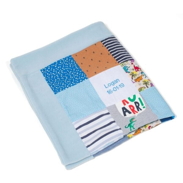 Fleece Memory Blanket: Image of a folded blue fleece blanket made from baby clothes.