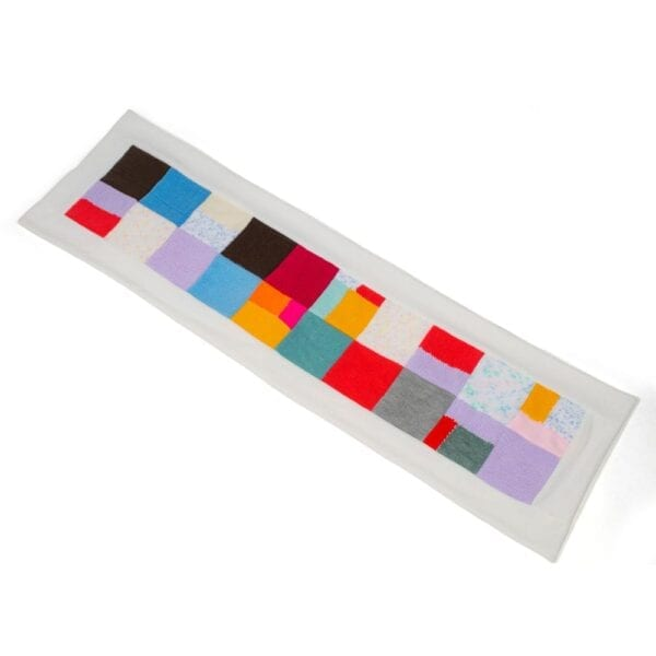 Fleece Memory Blanket: Image of a patchwork fleece blanket, laid out flat.