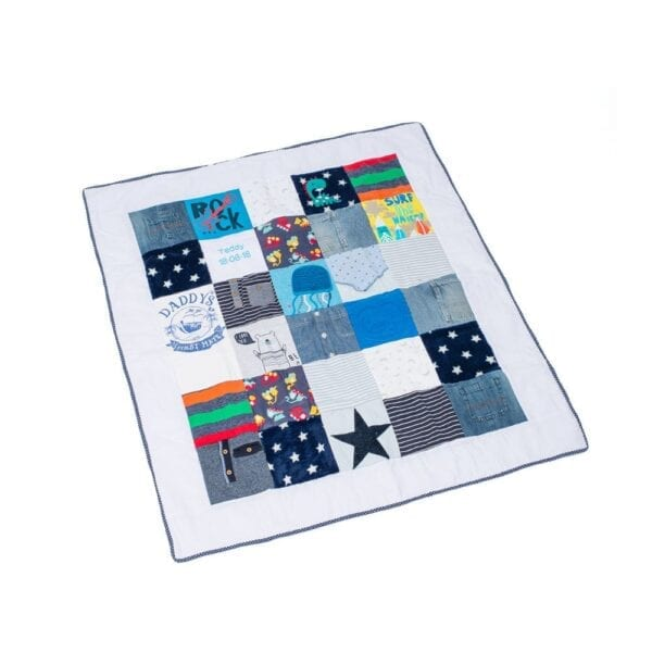 Luxury Memory Quilt: Image of a large patchwork quilt made from baby clothes laid out flat.