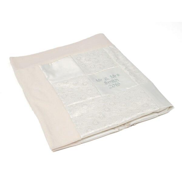 Wedding Dress Memory Blanket: Image of a folded wedding dress blanket.