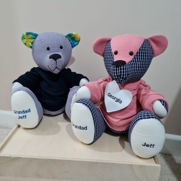 Memory Bears in mini jumpers