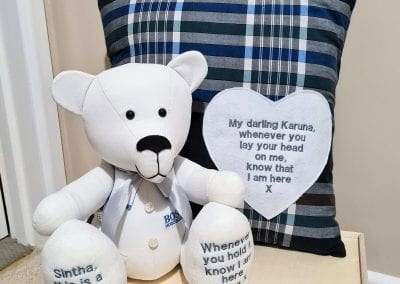 memory bear and cushion